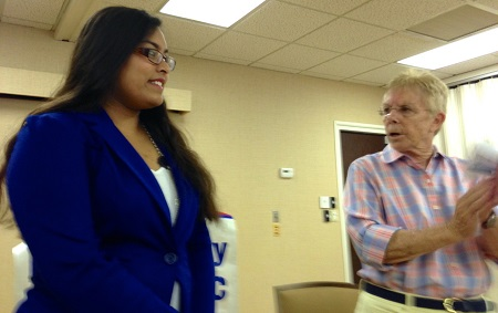 Democratic Club President Jackie Williams with Scholarship Recipient in May 2014<empty>